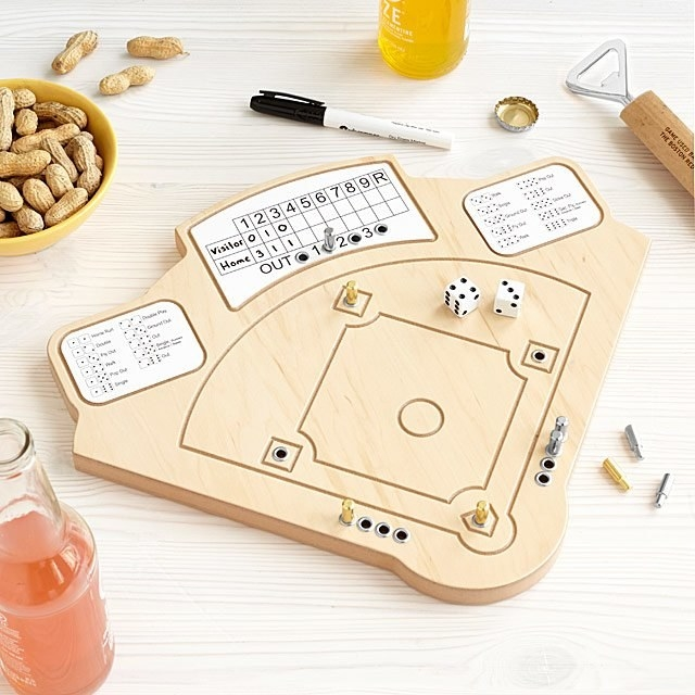 Wooden baseball game that looks like a diamond with score board, dice, and pegs