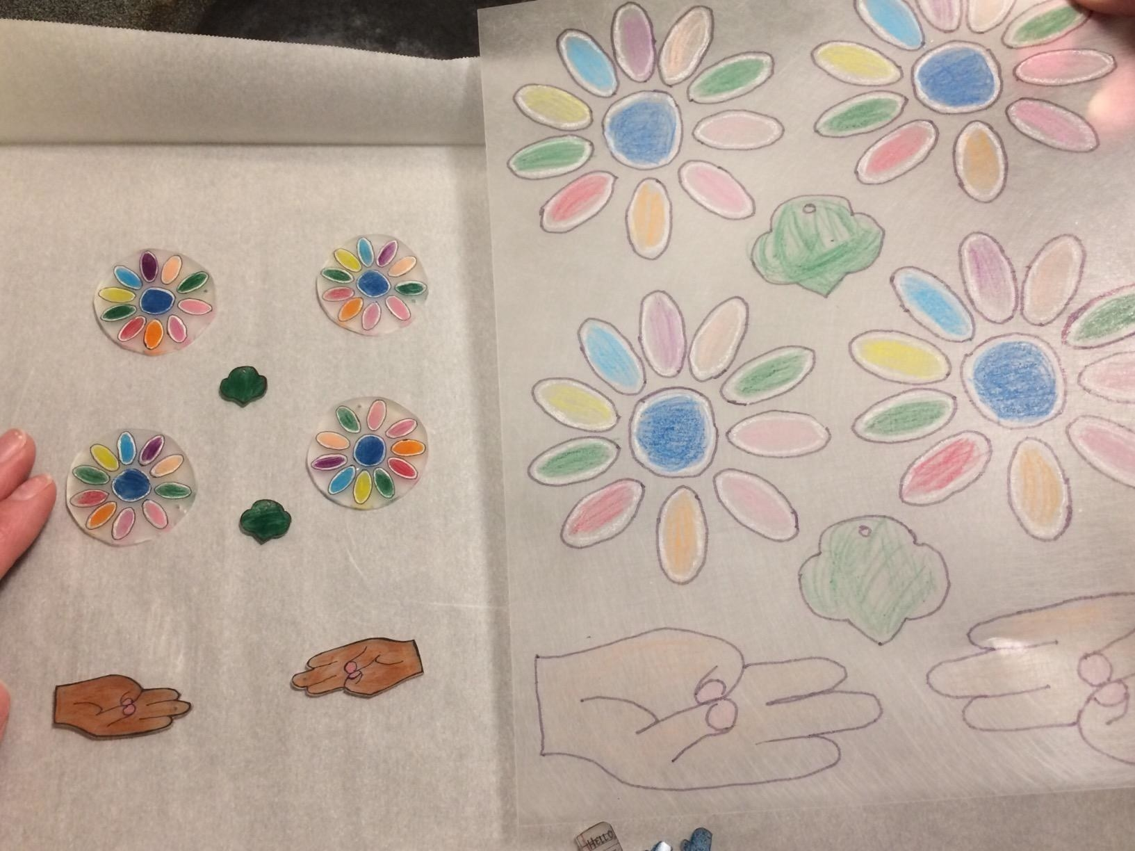 A before and after shot of colorful Shrinky Dinks.