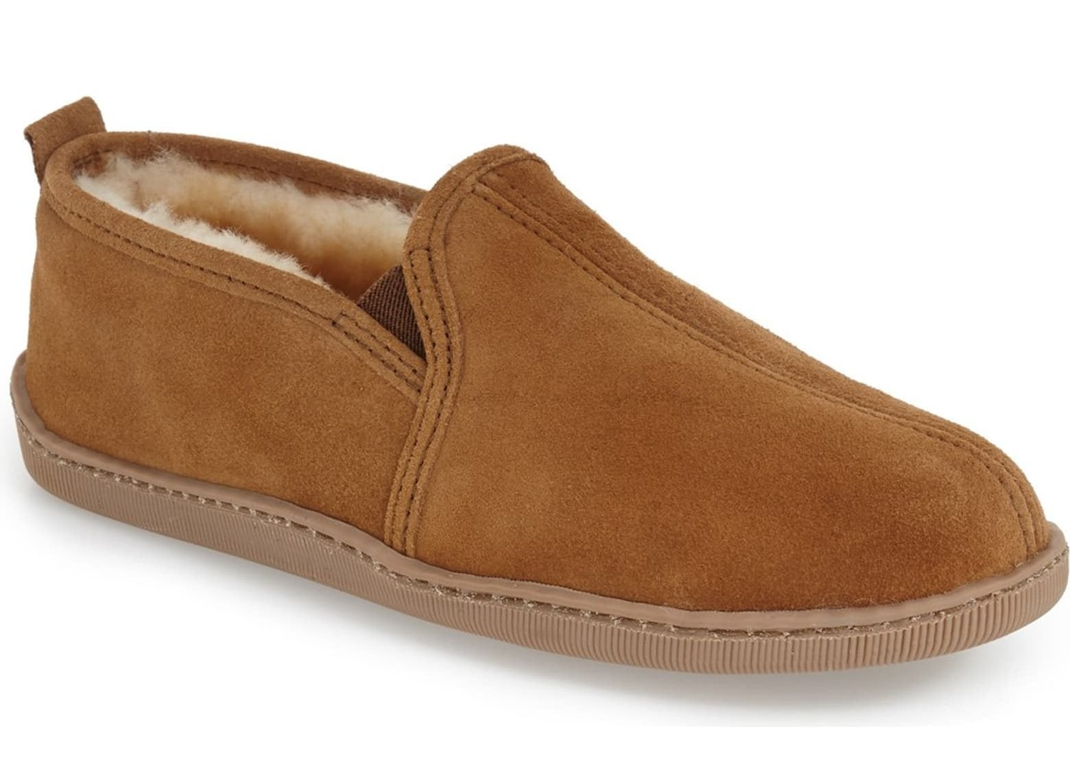Slip-on slippers with brown suede upper