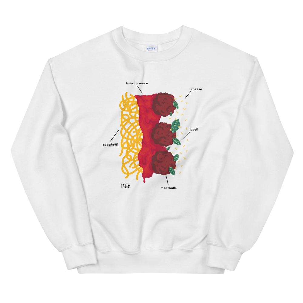 a white sweatshirt with a diagram showing the different ingredients used to make spaghetti and meatballs