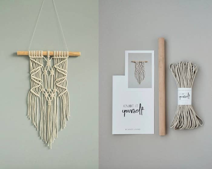 The macrame kit, before and after completion