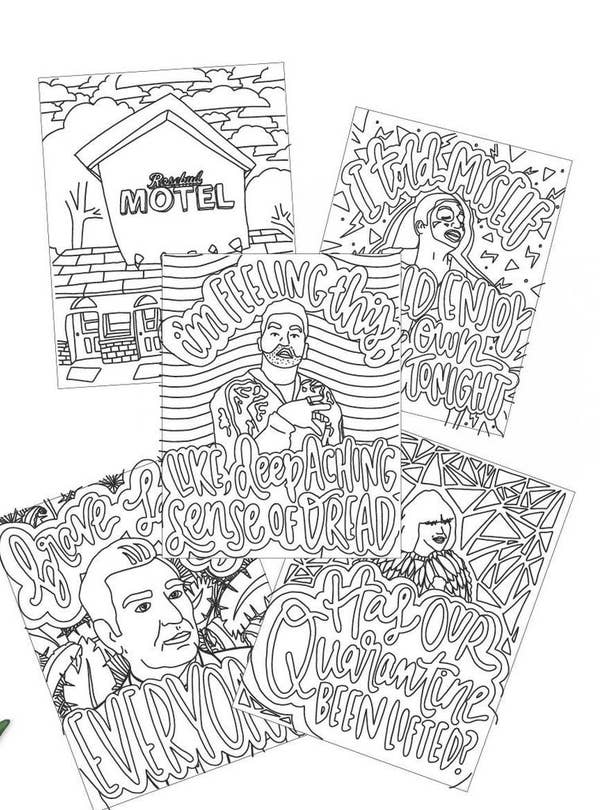Five Schitt's Creek-themed prints with text
