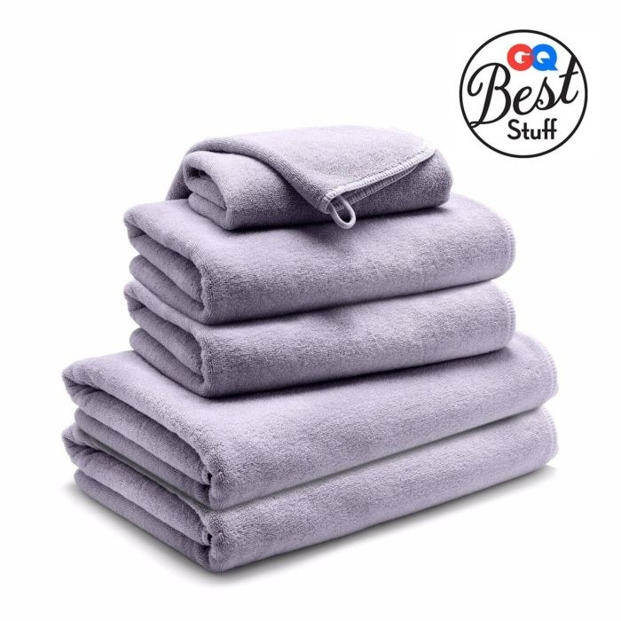 A stack of lavender spa towels