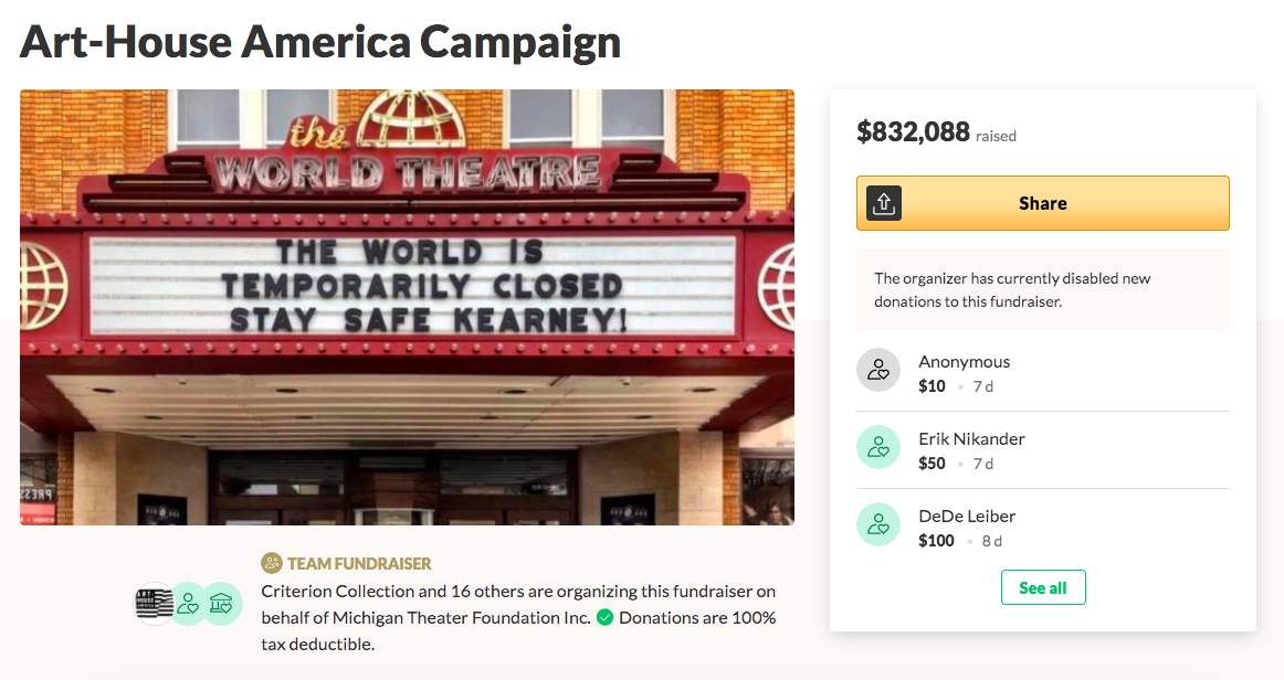 A GoFundMe page showing The World Theater and $832,088 raised