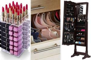 split thumbnail with lipstick organizer, drawer of bras, jewelry stand