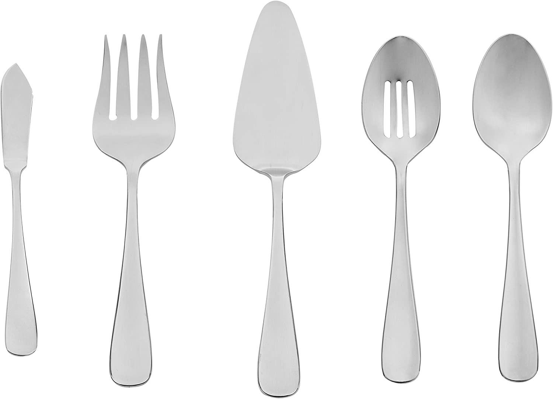 Un juego de cubiertos grises de acero inoxidable que incluye una cuchara para servir ranurada, una cuchara para servir, un tenedor para carne y otro para servir y un servidor para pastel