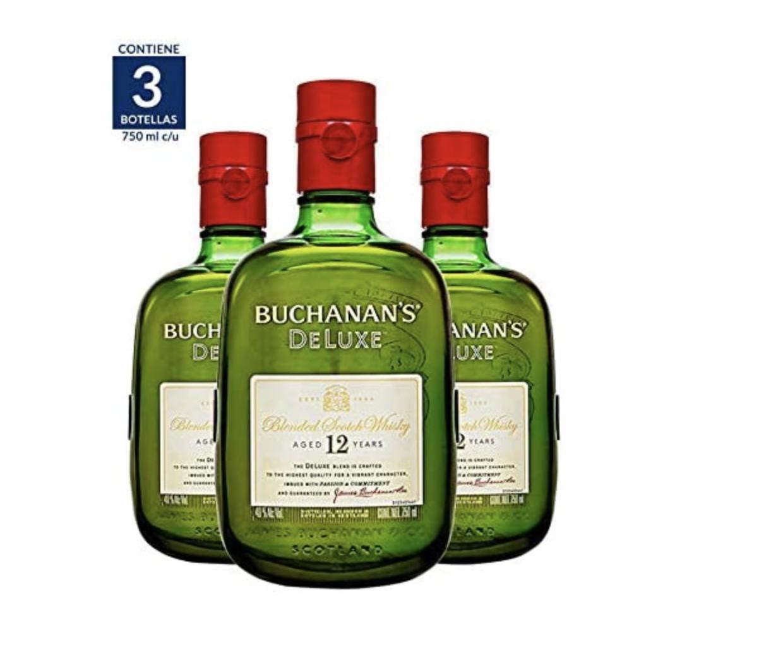 tres botellas de Whisky Buchanan's de 750 mililitros cada una
