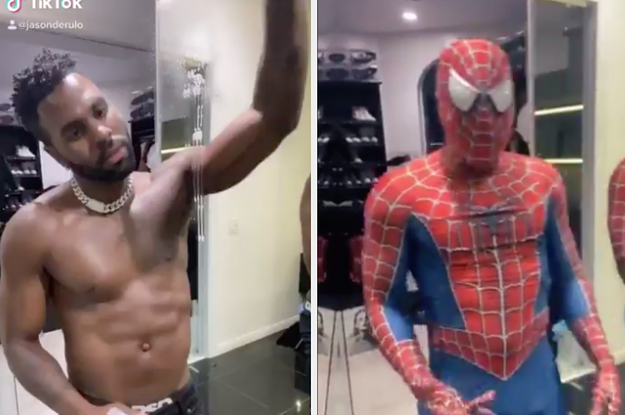 Jason Derulo Became Spider-Man In His Wipe It Down TikTok Challenge, And Of Course His Anaconda Played A Big Supporting Role