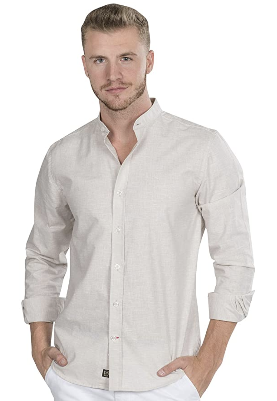 camisa cuello mao corte slim fit