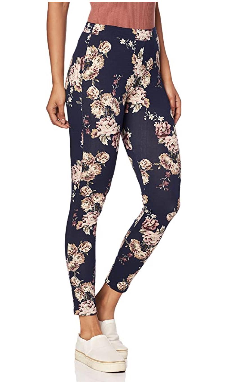leggings azules de algodón con estampado de flores