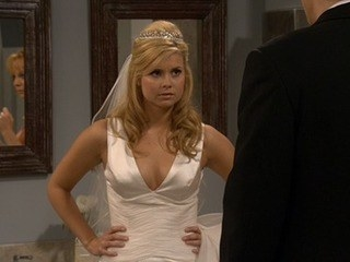 Cheyenne in a wedding dress looking very angry and somewhat entitled