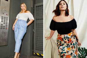on the left, a model in blue tie-waist pants and a white off the shoulder top in an industrial elevator; on the right, a model in a colorful floral skirt and black off the shoulder top posing against a wall covered in a sheet