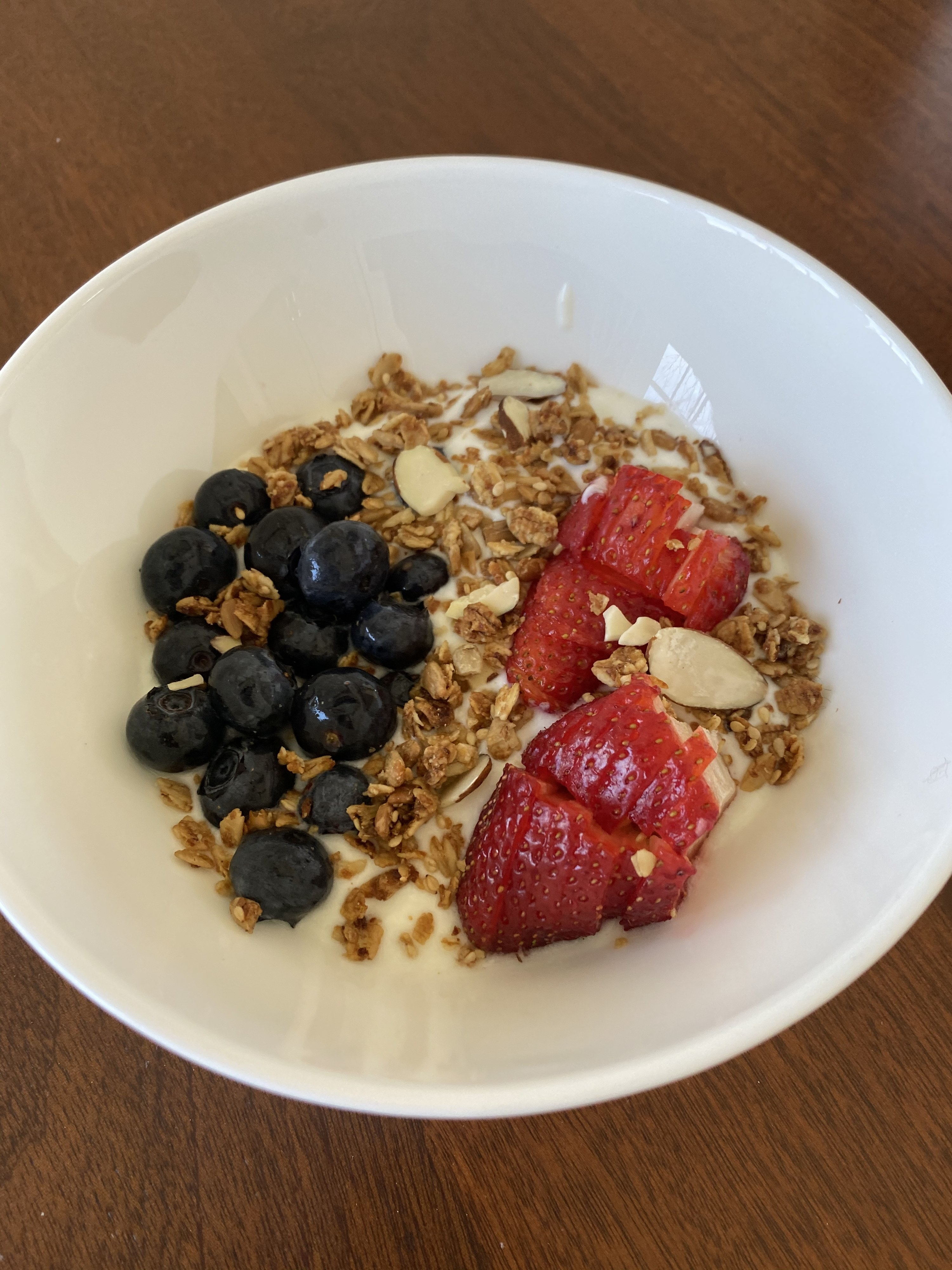A bowl of homemade yogurt topped with granola and berries.