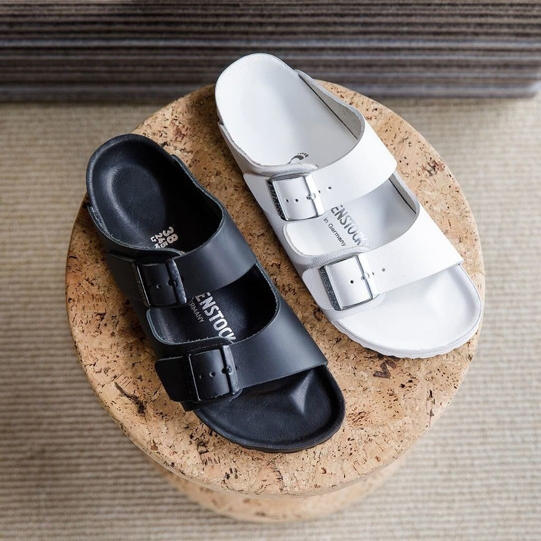The Birkenstocks in black and white