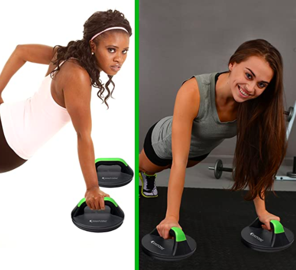 A side-by-side of two models using the push up bars. On the left, the model does a one-hand pushup. On the right, the model does a standard pushup