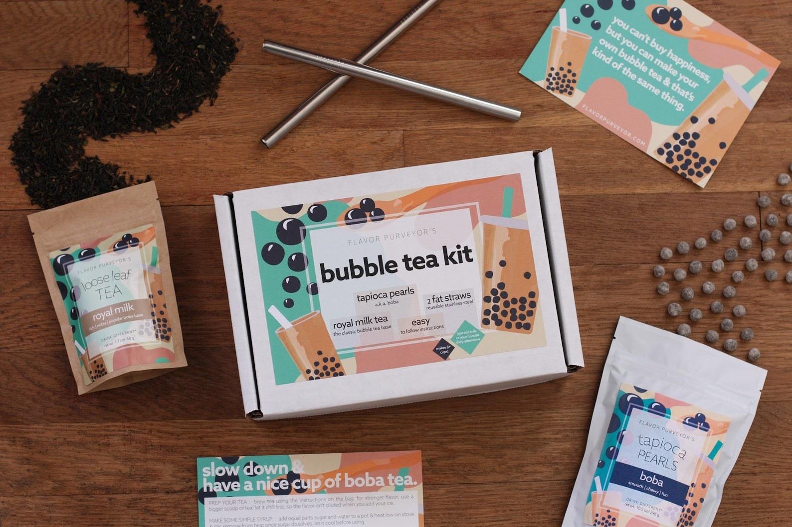 The kit in cartoon boba tea packaging