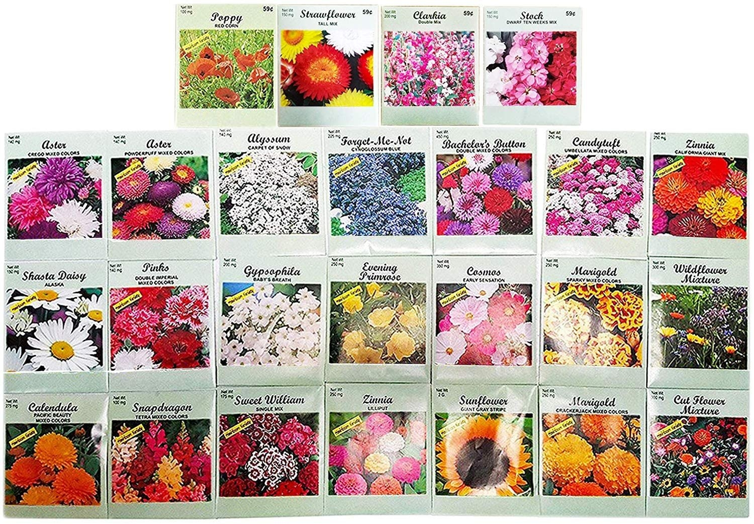Twenty-five assorted packets of flower seeds