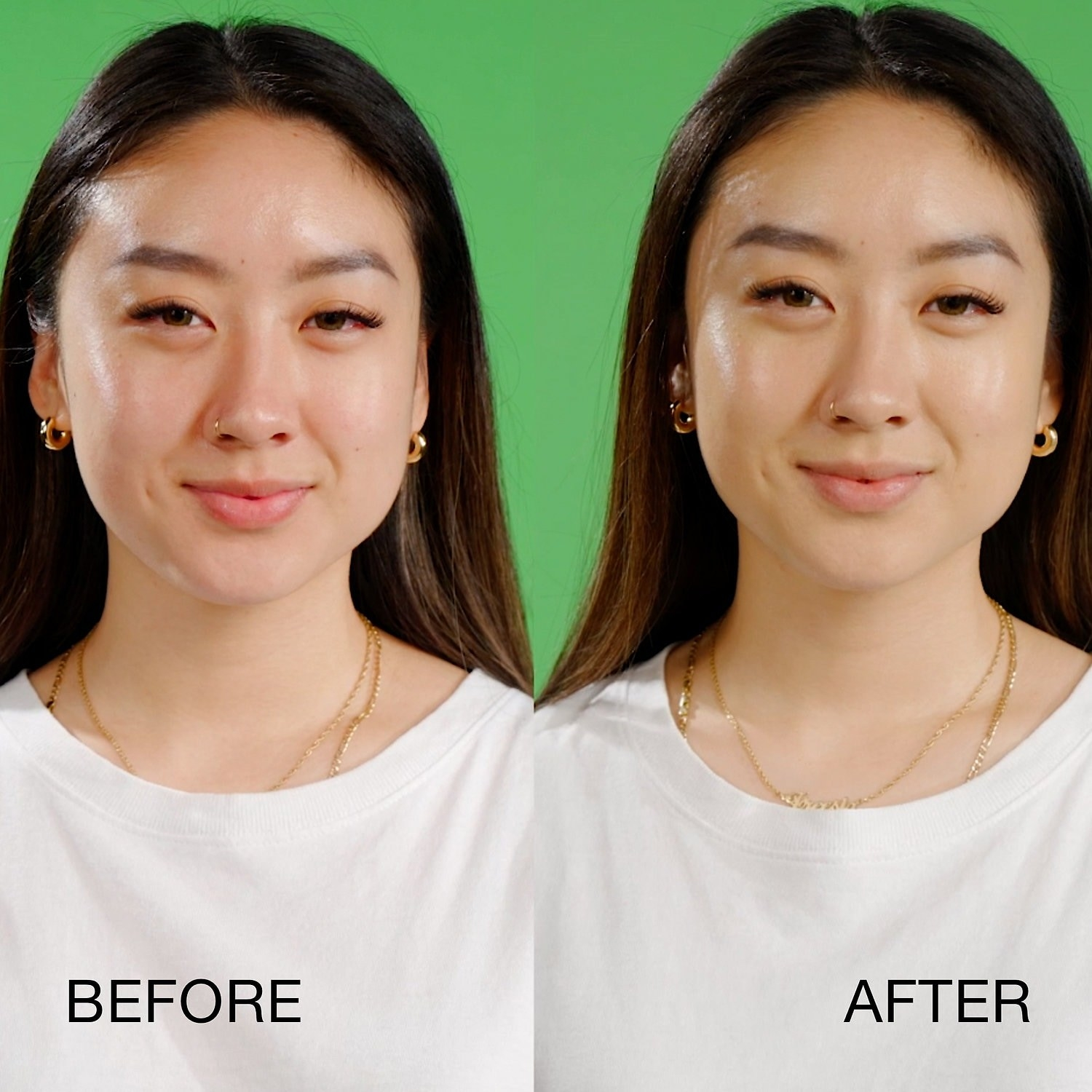 "on the left, model with slight redness labeled ""before"" and on the right, same model with even complexion labeled ""after"""