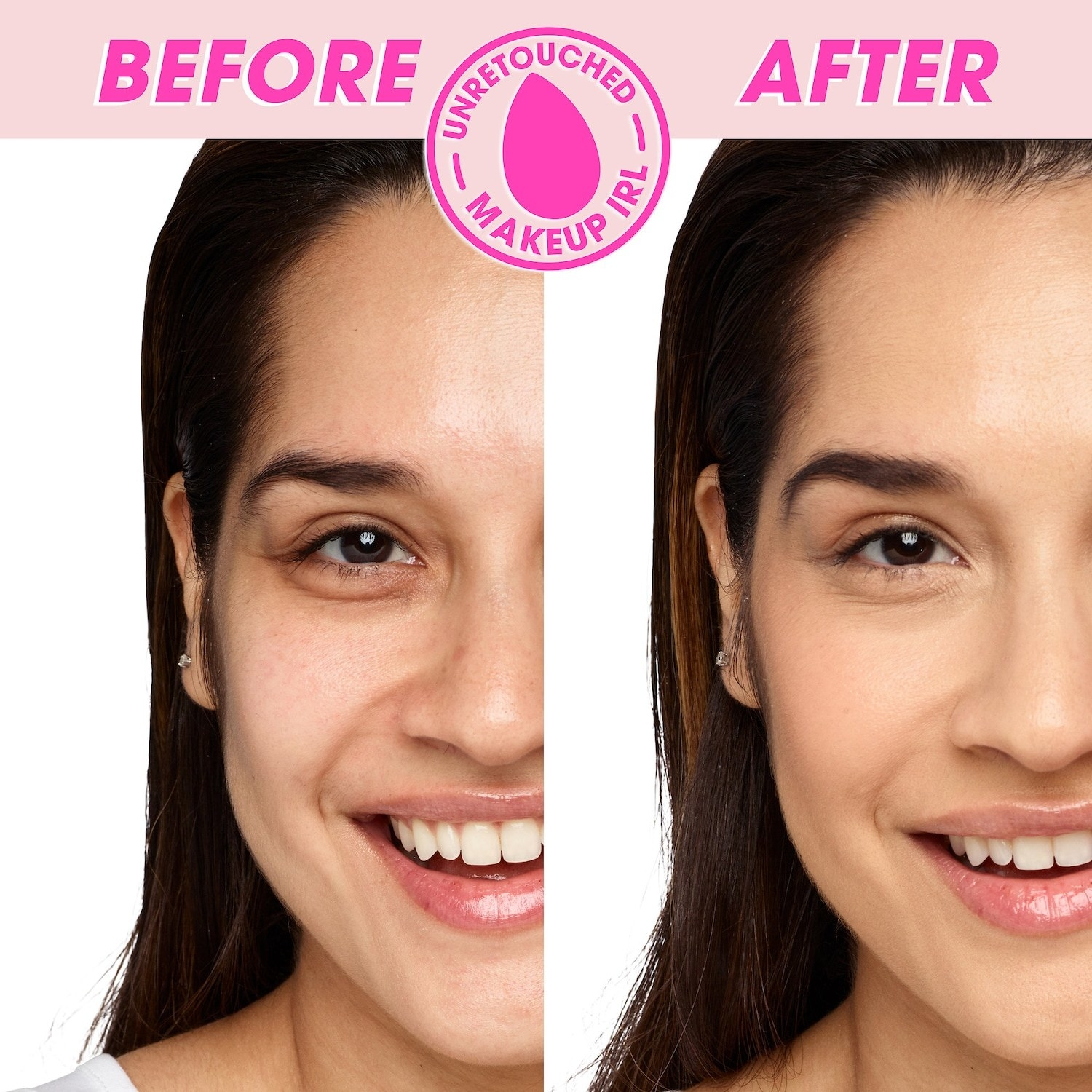 """on the left, model with dark under eyes labeled """"before"""" and on the right, same model with brighter under eyes labeled """"after"""""""