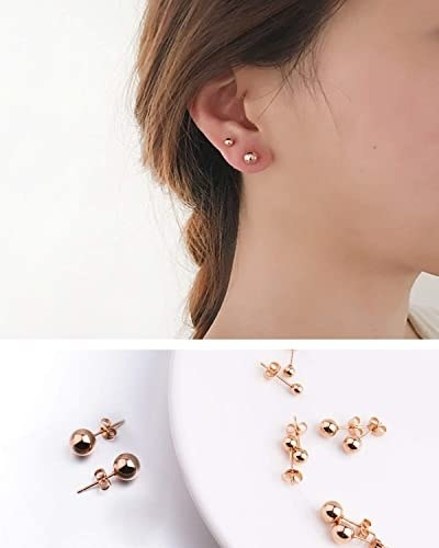 model wearing two sets of the studs and product shot of stud earrings