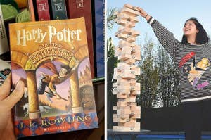 on the left harry potter and the sorcerer's stone, on the right a giant jenga tower