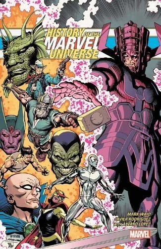 The cover of the Marvel Universe book featuring various characters