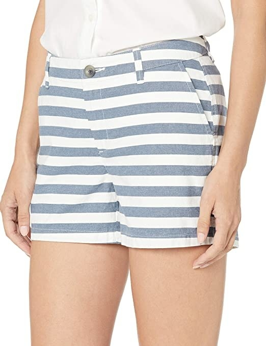 shorts in blue and white stripes