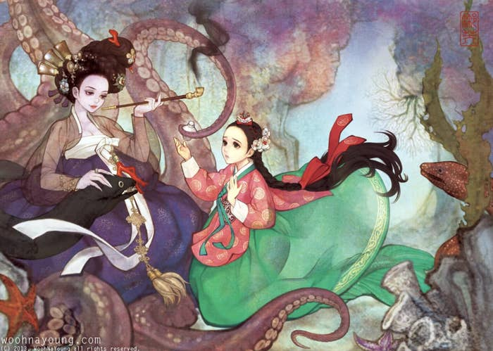 """The seawitch and mermaid from """"The Little Mermaid"""" wearing Korean hanboks"""
