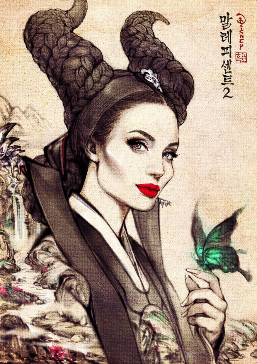 Angelina Jolie as Disney's Maleficent dressed in Korean hanbok.