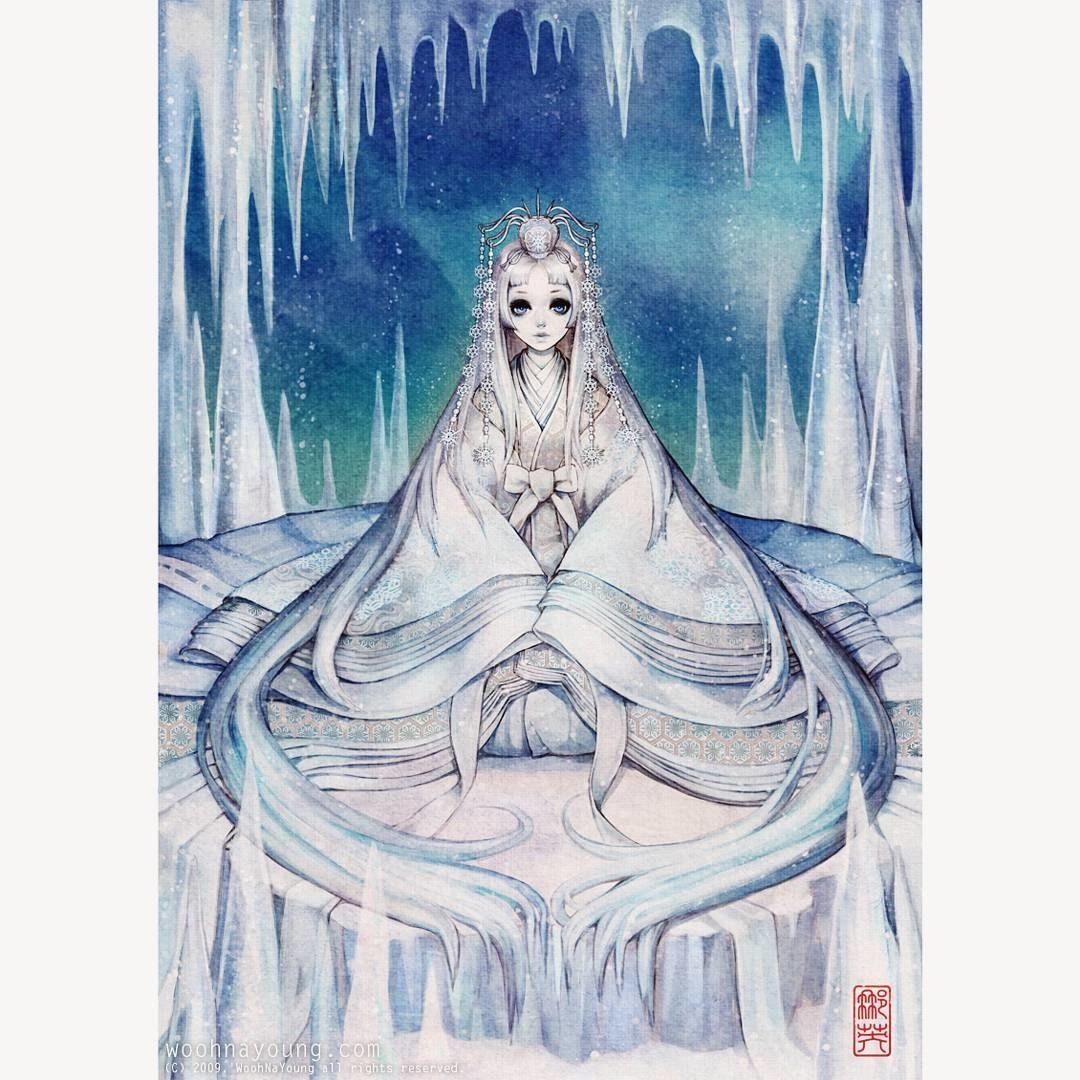 """The Snow Queen"" wearing a white hanbok sitting in an ice cave."