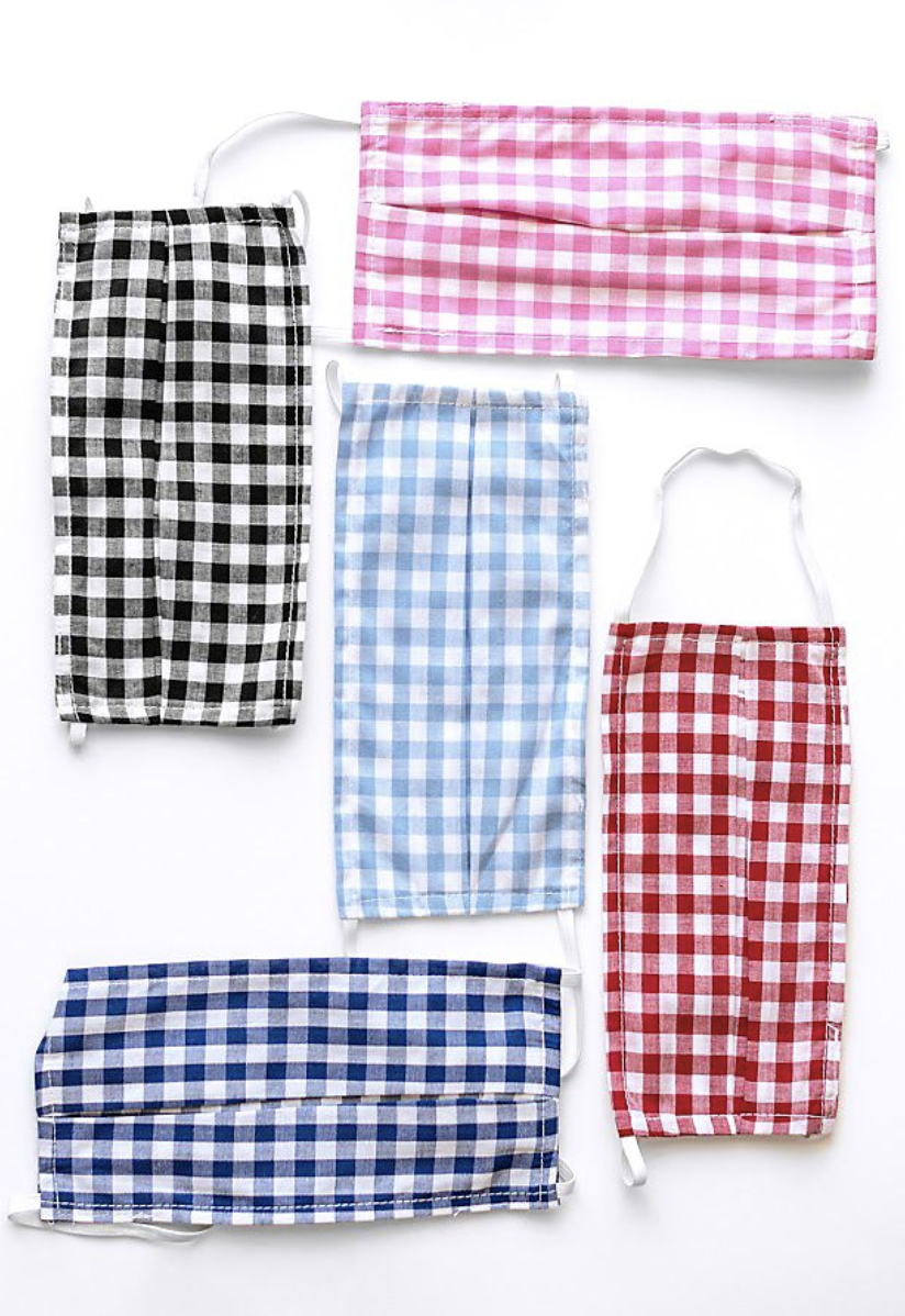 Blue, black, light blue, and red gingham printed face masks