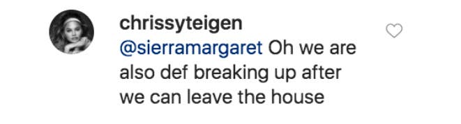 A comment from Chrissy Teigen to a fan on Instagram
