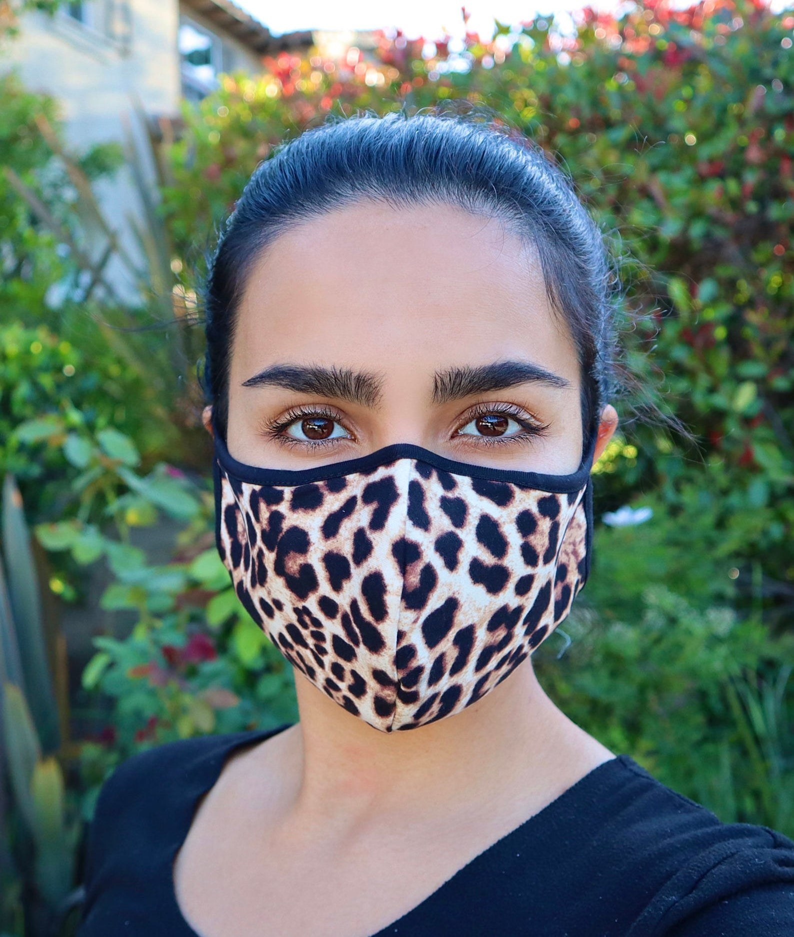 Model wearing a face mask