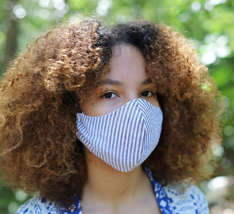 A model wearing a face mask