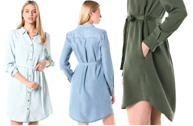the dress in light blue, medium blue, and olive green
