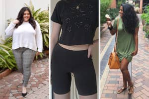 split thumbnail of person wearing plaid jeggings, person wearing bike shorts, person wearing T-shirt dress tied in a knot