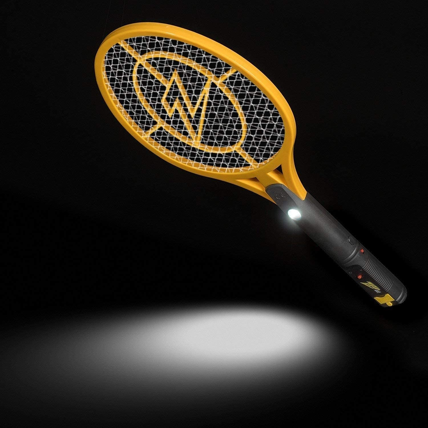 A yellow and black bug zapper that looks like a small tennis racket with an LED light