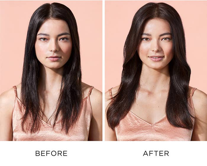 Before photo of model with dry flat hair next to an after photo of model with shiny, voluminous hair