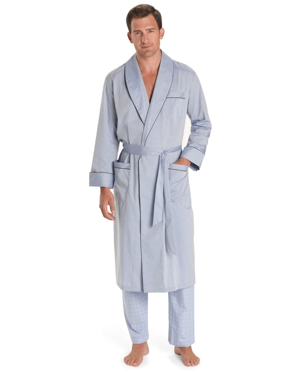Model wearing light blue chambray robe with removable belt and cuffed sleeves