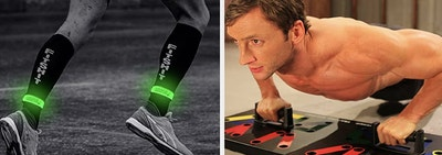 On the left, a model wears a pair of glow-in-the-dark bands. On the right, a model uses a color-coded push-up system