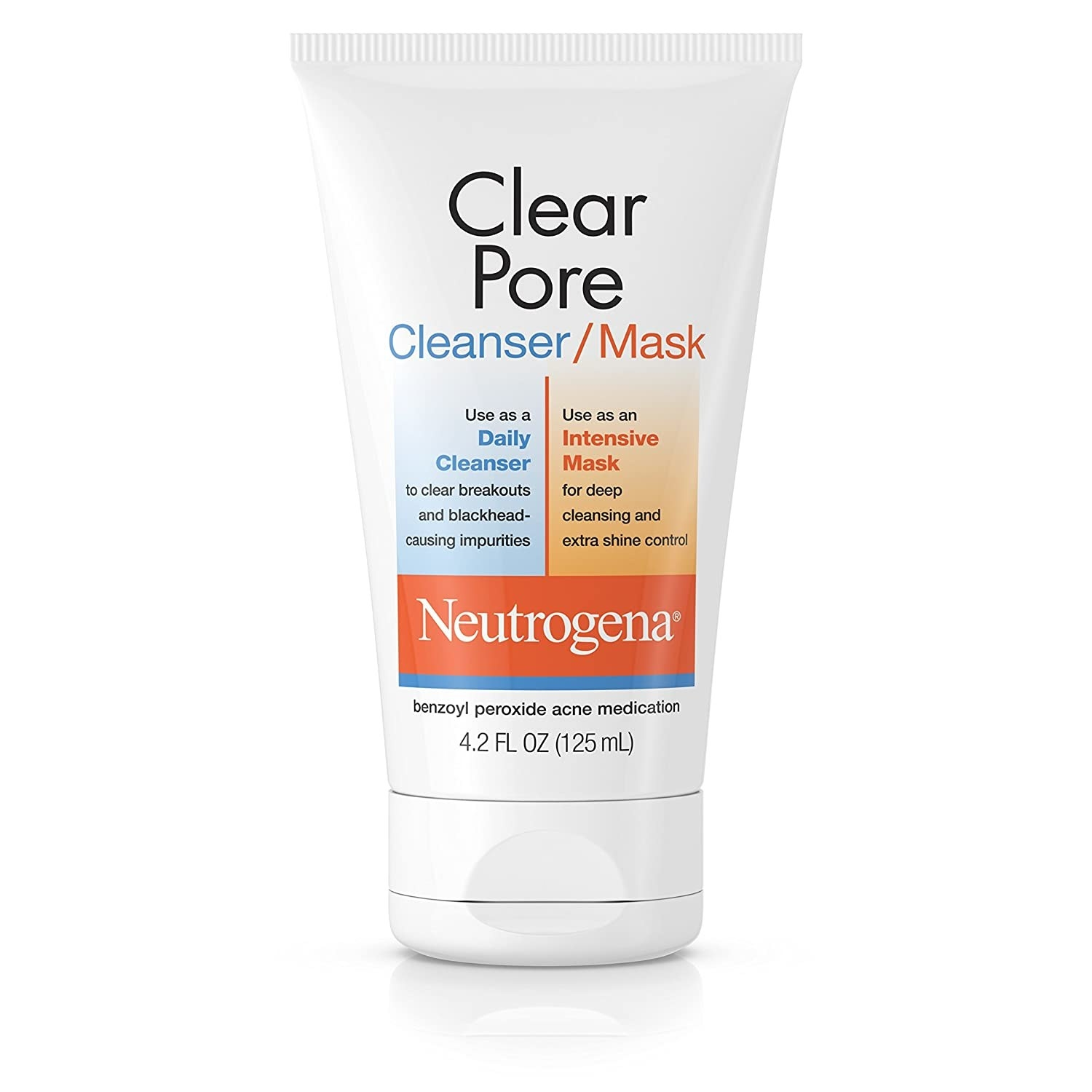 A bottle of Neutrogena Clear Pore Benzoyl Peroxide Mask/Cleanser.