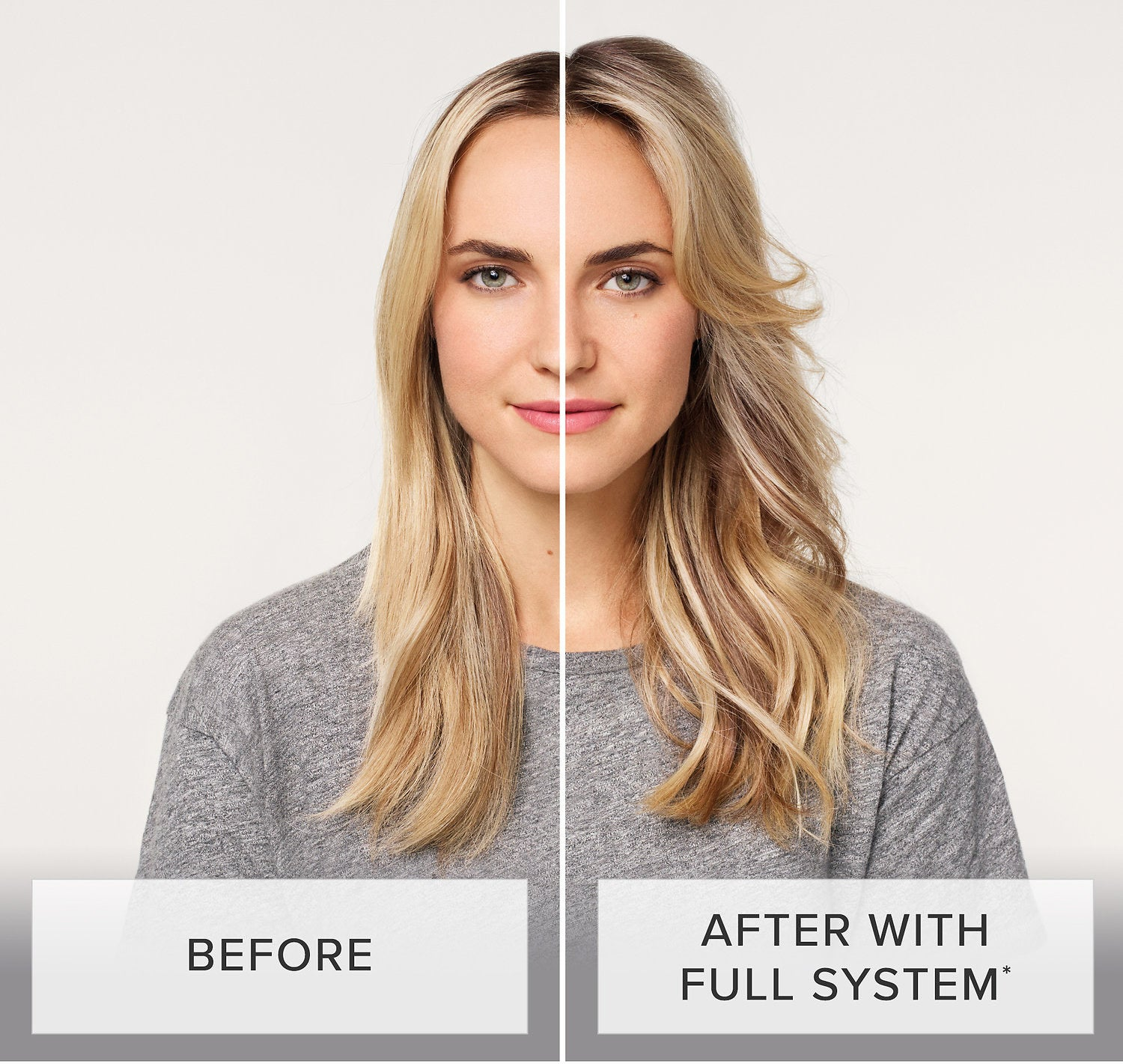 Before photo of model with dry, flat, lifeless hair and an after photo of the same model with fuller, brighter hair