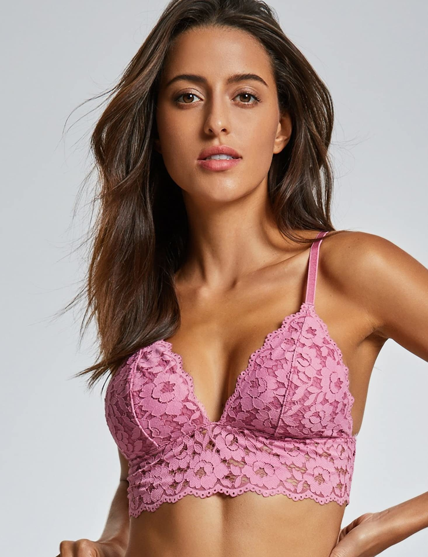 Model wearing the bralette with lace band in pink