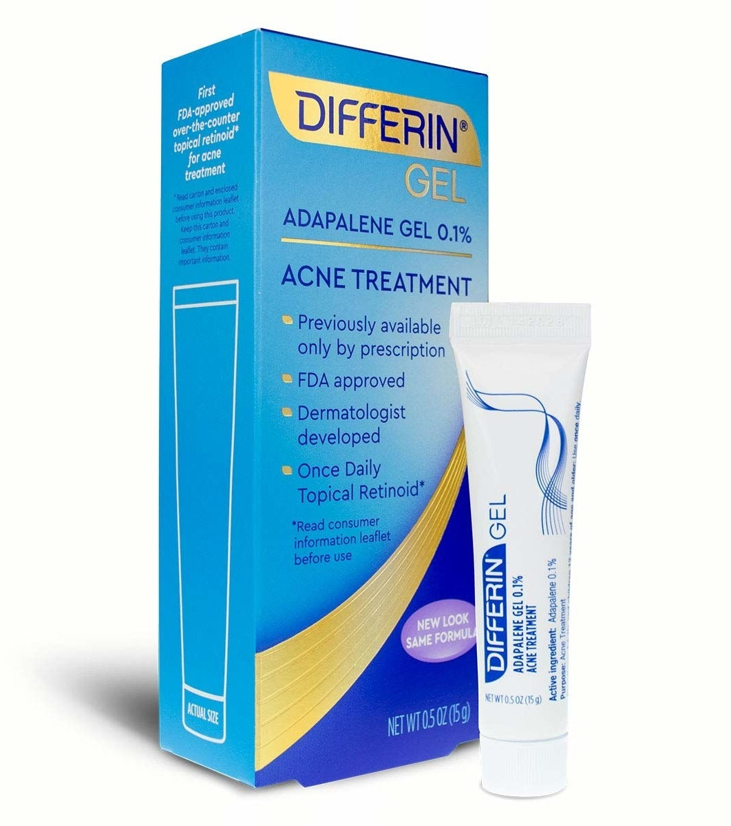 A tube of Differin Adapalene Gel 0.1% Acne Treatment.