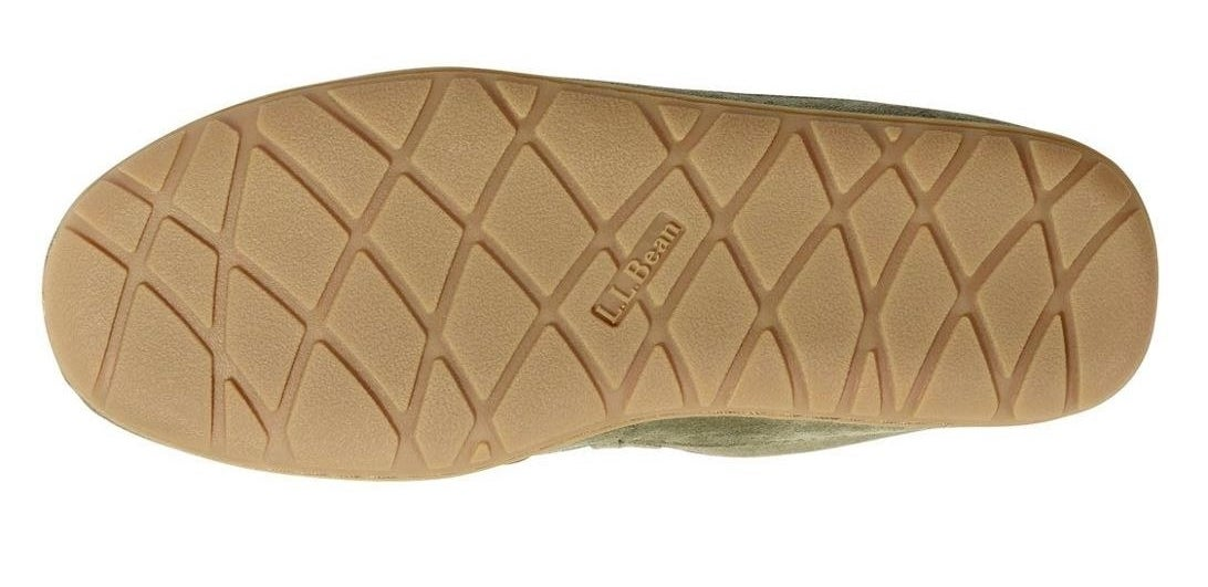 The rubber sole of the mocassins with an L.L. Bean logo