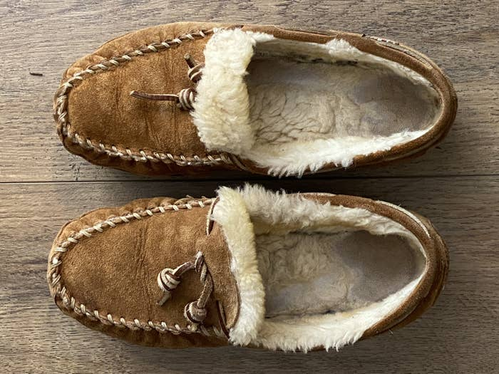 A top-down view of a BuzzFeed Editor's moccasins