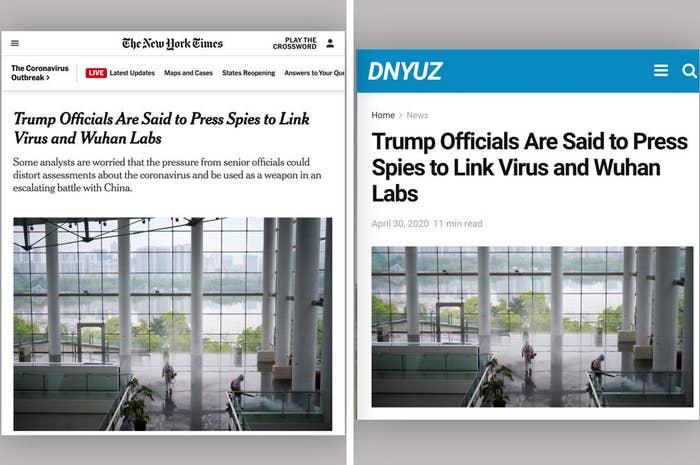 Side by side comparison of the original New York Times story and a version copied by dnyuz.com