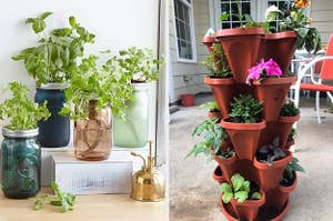 Side by side of mason jar herb garden and stacked planters