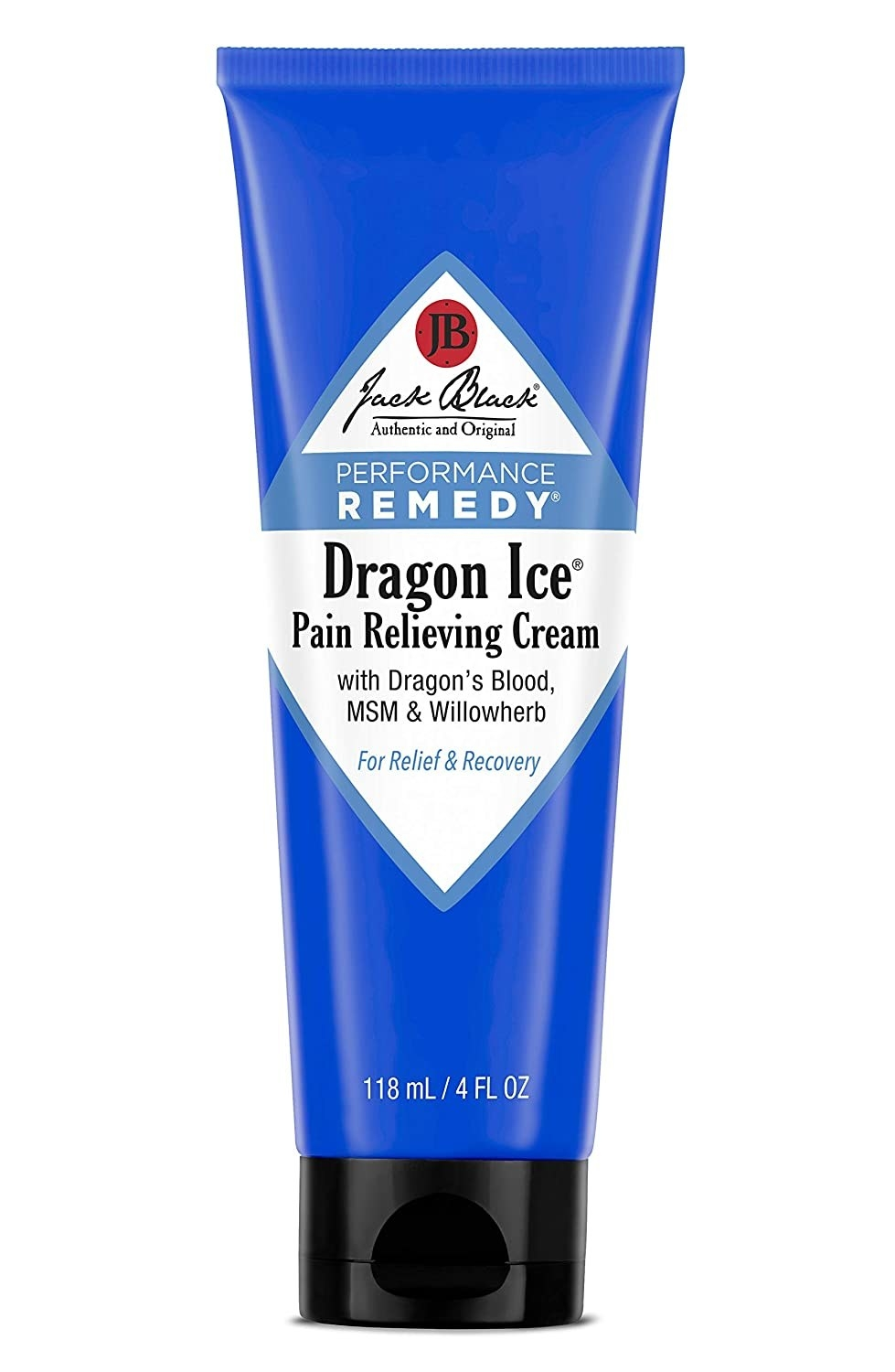 """blue bottle with black cap labeled """"jack black performance remedy dragon ice"""""""