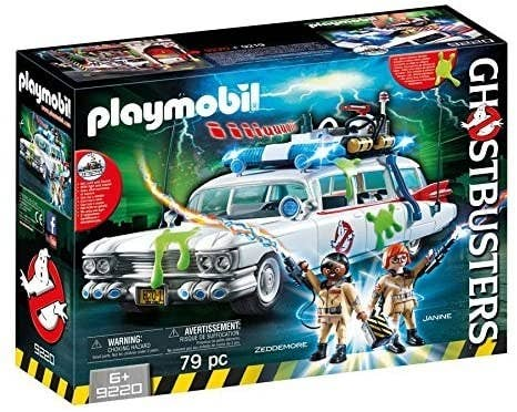 A Ghostbusters Ecto-1 playset box with two figures